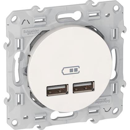 Schneider Odace - Chargeur Double USB 2.1 - Blanc - Réf : S520407