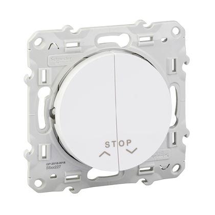 Schneider Odace - Bouton Poussoir avec fonction Stop pour Volets-Roulants - Blanc - Réf : S520227