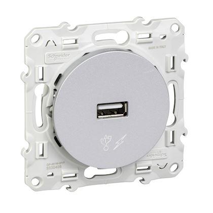 Schneider Odace - Chargeur USB - Alu - Réf : S530408