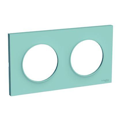 SCHNEIDER ELECTRIC Odace Styl plaque Bleu Cian 2 postes horizontaux ou verticaux entraxe 71mm S520704C