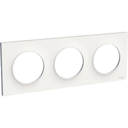 Schneider - Odace Styl, Plaque Blanc 3 Postes Horizontaux Ou Verticaux Entraxe 71Mm - Réf : S520706