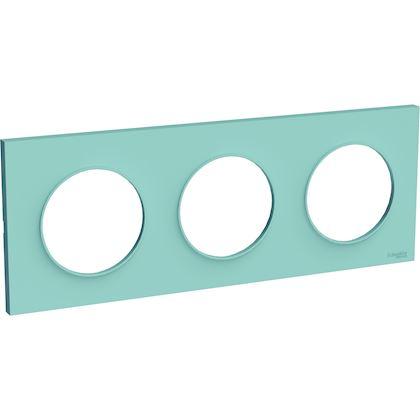 SCHNEIDER ELECTRIC Odace Styl plaque Bleu Cian 3 postes horizontaux ou verticaux entraxe 71mm S520706C