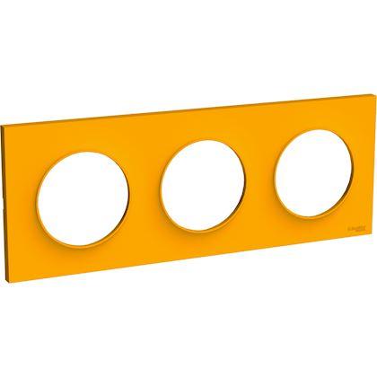 SCHNEIDER ELECTRIC Odace Styl plaque Ambre 3 postes horizontaux ou verticaux entraxe 71mm S520706G