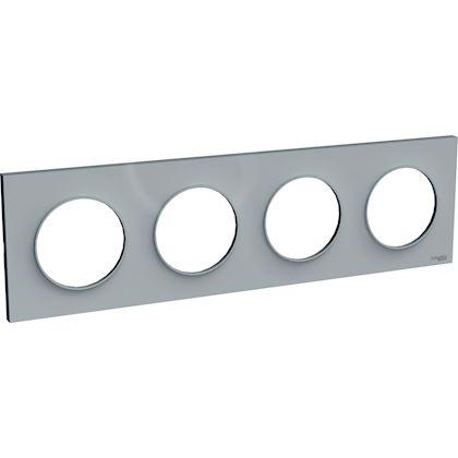 SCHNEIDER ELECTRIC Odace Styl plaque Gris 4 postes horizontaux ou verticaux entraxe 71mm S520708A1