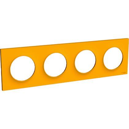 SCHNEIDER ELECTRIC Odace Styl plaque Ambre 4 postes horizontaux ou verticaux entraxe 71mm S520708G