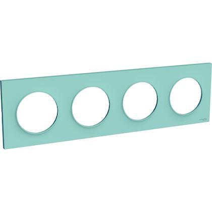 SCHNEIDER ELECTRIC Odace Styl plaque Bleu Cian 4 postes horizontaux ou verticaux entraxe 71mm S520708C