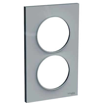 SCHNEIDER ELECTRIC Odace Styl - plaque 2 postes - gris - entraxe 57mm vertical S520714A1