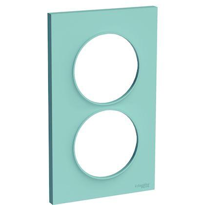 SCHNEIDER ELECTRIC Odace Styl - plaque 2 postes - bleu cian - entraxe 57mm vertical S520714C