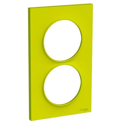 SCHNEIDER ELECTRIC Odace Styl - plaque 2 postes - vert chartreuse - entraxe 57mm vertical S520714H