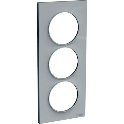 SCHNEIDER ELECTRIC Odace Styl - plaque 3 postes - gris pierre - entraxe 57mm vertical S520716A1