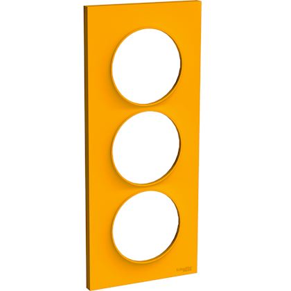 SCHNEIDER ELECTRIC Odace Styl - plaque 3 postes - ambre - entraxe 57mm vertical S520716G
