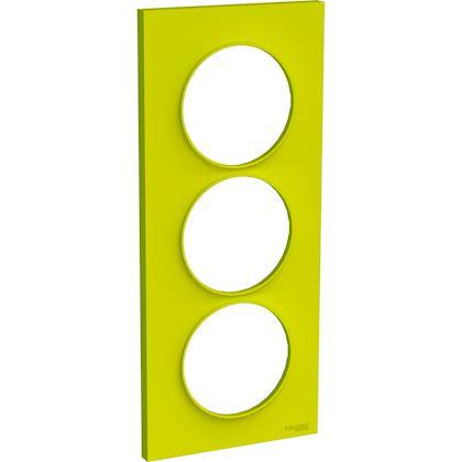 SCHNEIDER ELECTRIC Odace Styl - plaque 3 postes - vert chartreuse - entraxe 57mm vertical S520716H