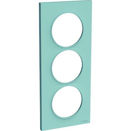 SCHNEIDER ELECTRIC Odace Styl - plaque 3 postes - bleu cian - entraxe 57mm vertical S520716C