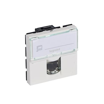 Legrand Mosaic - Prise RJ45 - Catégorie 5e - UTP - 2 modules - LCS - blanc - Réf : 076554