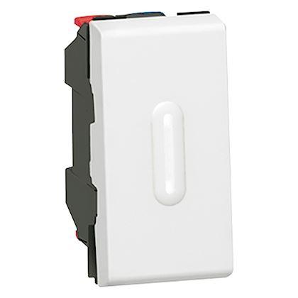 Legrand Mosaic - Poussoir inverseur 6A - à voyant LED ( non fourni ) - 1 module - blanc - Réf: 077032