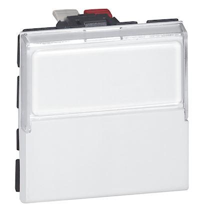 Legrand Mosaic - Poussoir inverseur porte étiquette 6A - 2 modules - blanc antimicrobien - Réf: 077043