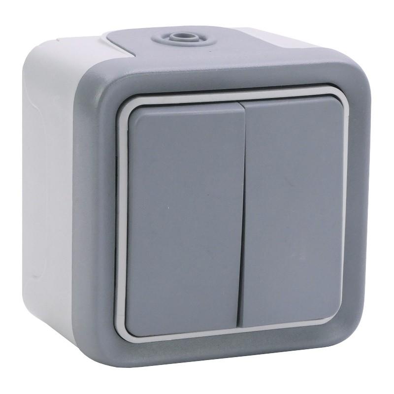 Legrand - Double interrupteur ou va-et-vient Plexo complet IP55 saillie 10AX 250V - gris - Réf : 069715