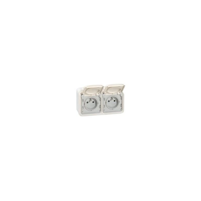 Legrand - Double prise de courant avec terre Plexo apparent horizontal - Blanc - Réf : 069919