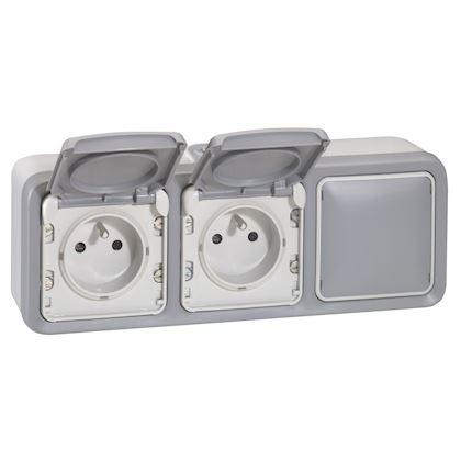 Legrand - Double prise de courant + obturateur Plexo complet apparent - Gris - Réf : 069909