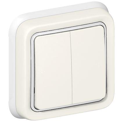 Legrand - Double interrupteur ou va-et-vient Plexo complet IP55 encastré 10AX 250V - blanc - Réf : 069855