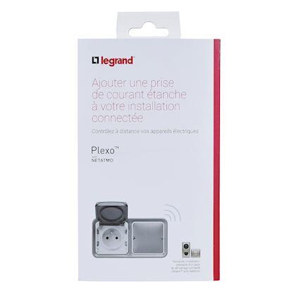 Prise connectée Plexo with Netatmo 16A 3680W - complet saillie 2 postes gris 069796