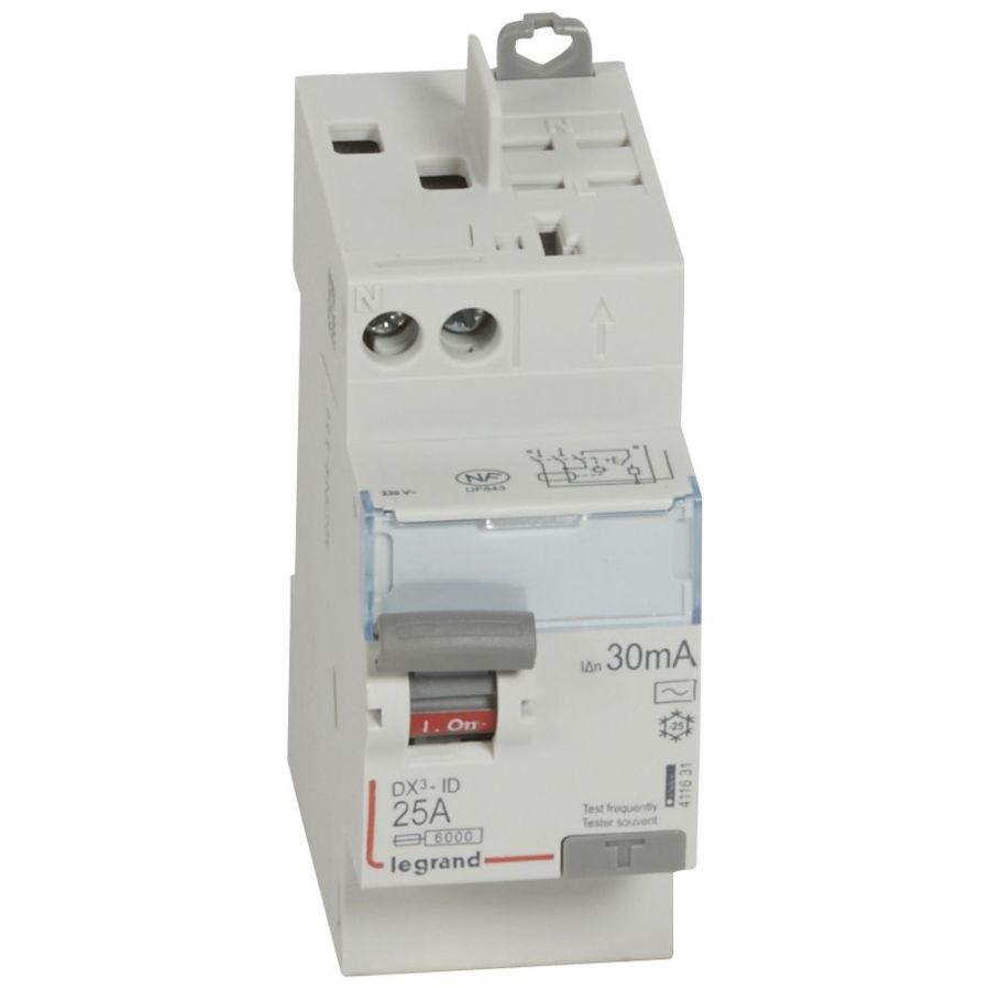 Interrupteur différentiel DX³-ID haut vis/haut auto 2P 230V~ 25A AC 30mA - 411631