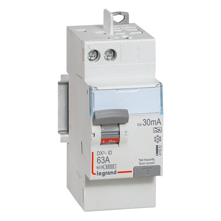 Interrupteur différentiel DX³-ID haut vis/haut auto 2P 230V~ 63A A 30mA