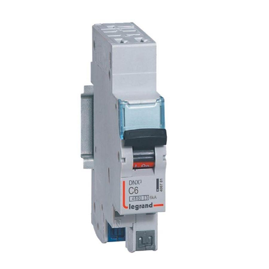 Disjoncteur DNX³ 4500 - auto/auto - U+N 230V~ 6A - 4,5kA - courbe C