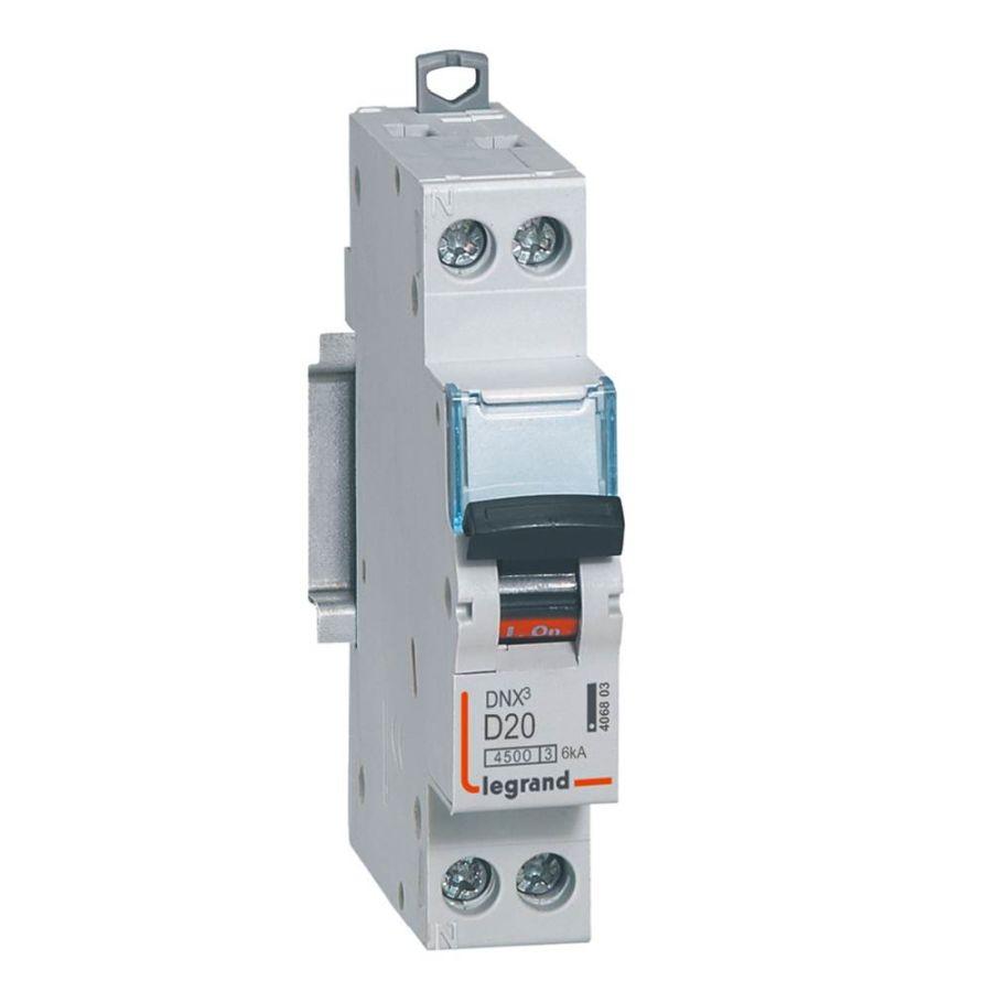 Disjoncteur DNX³ 4500 - vis/vis - U+N 230V~ 20A - 4,5kA - courbe D