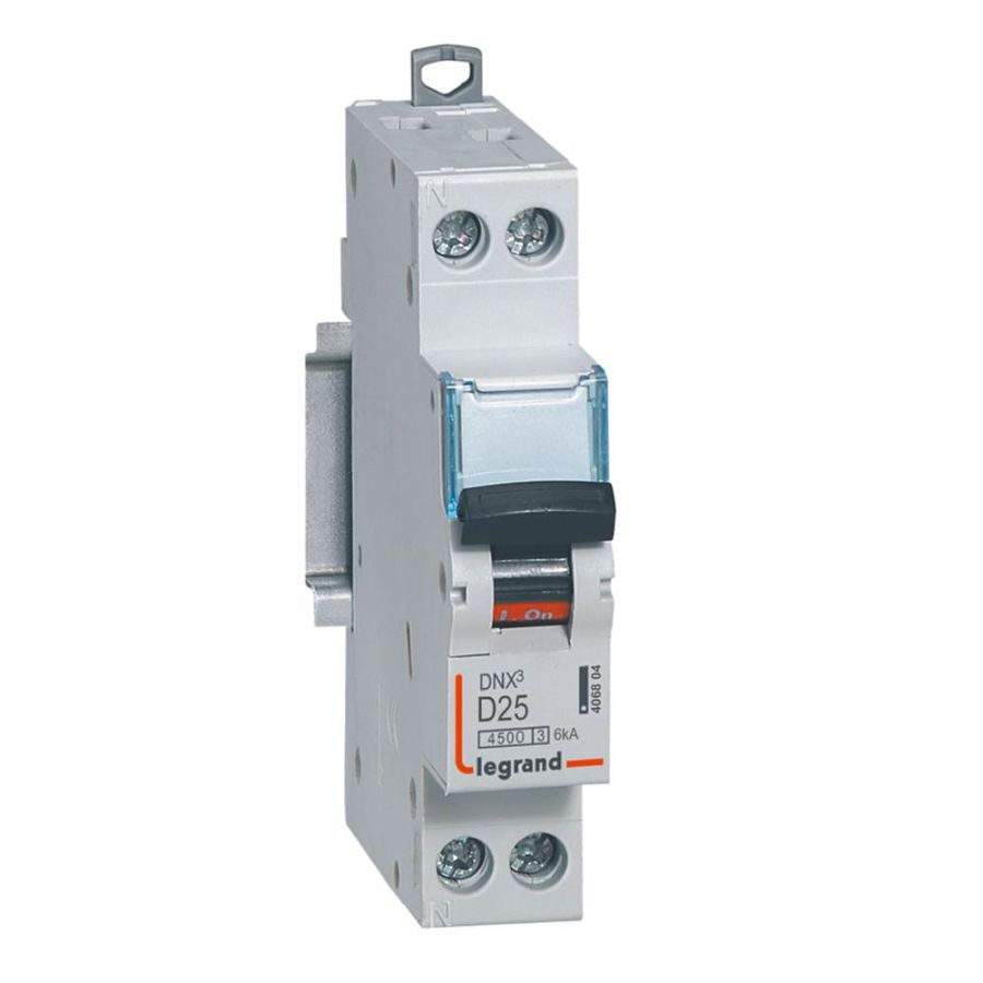 Disjoncteur DNX³ 4500 - vis/vis - U+N 230V~ 25A - 4,5kA - courbe D