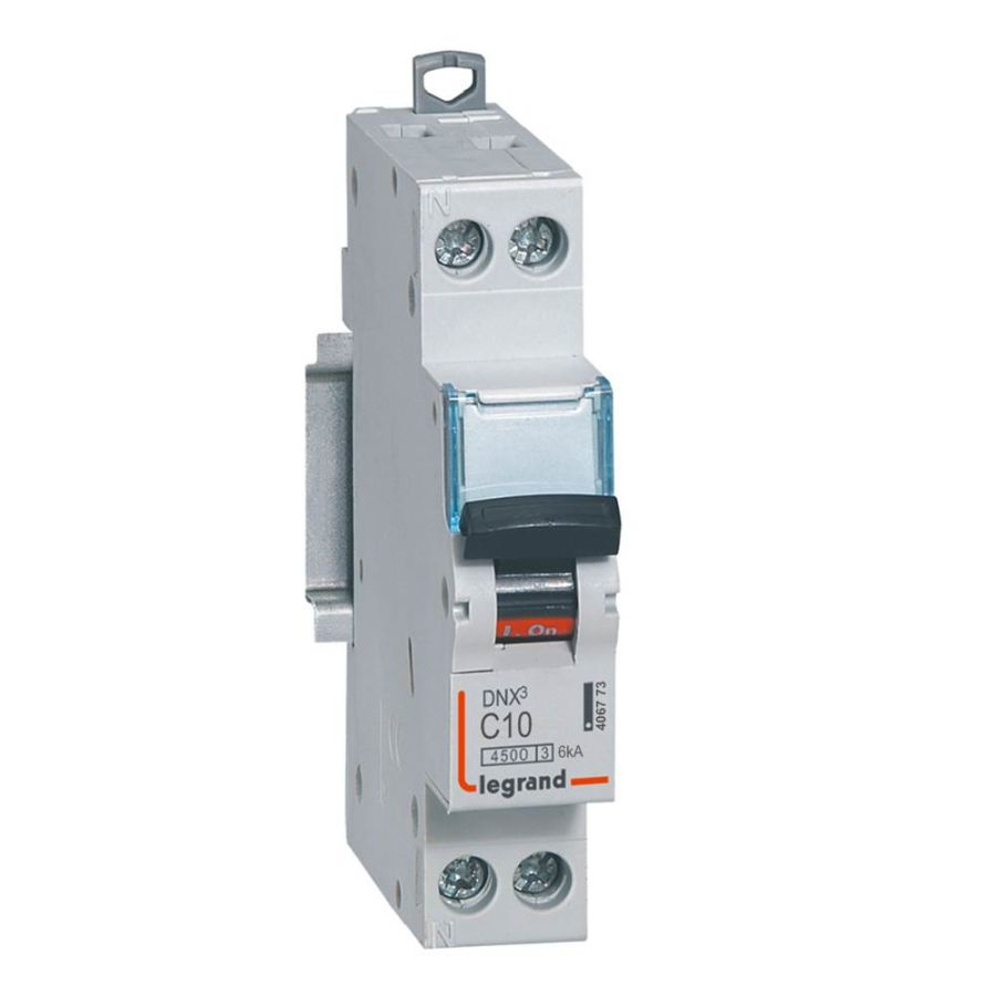 Disjoncteur DNX³ 4500 - vis/vis - U+N 230V~ 10A - 4,5kA - courbe C