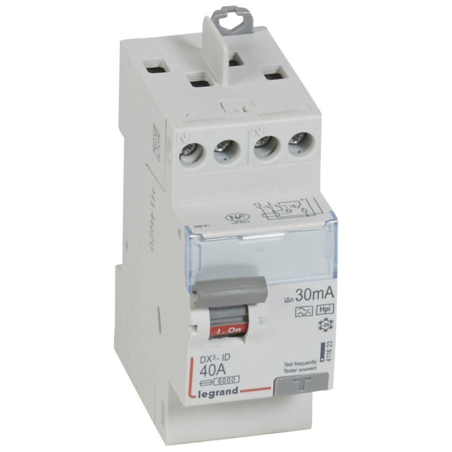 Interrupteur différentiel DX³-ID haut/haut vis - 2P 230V~ 40A typeF 30mA