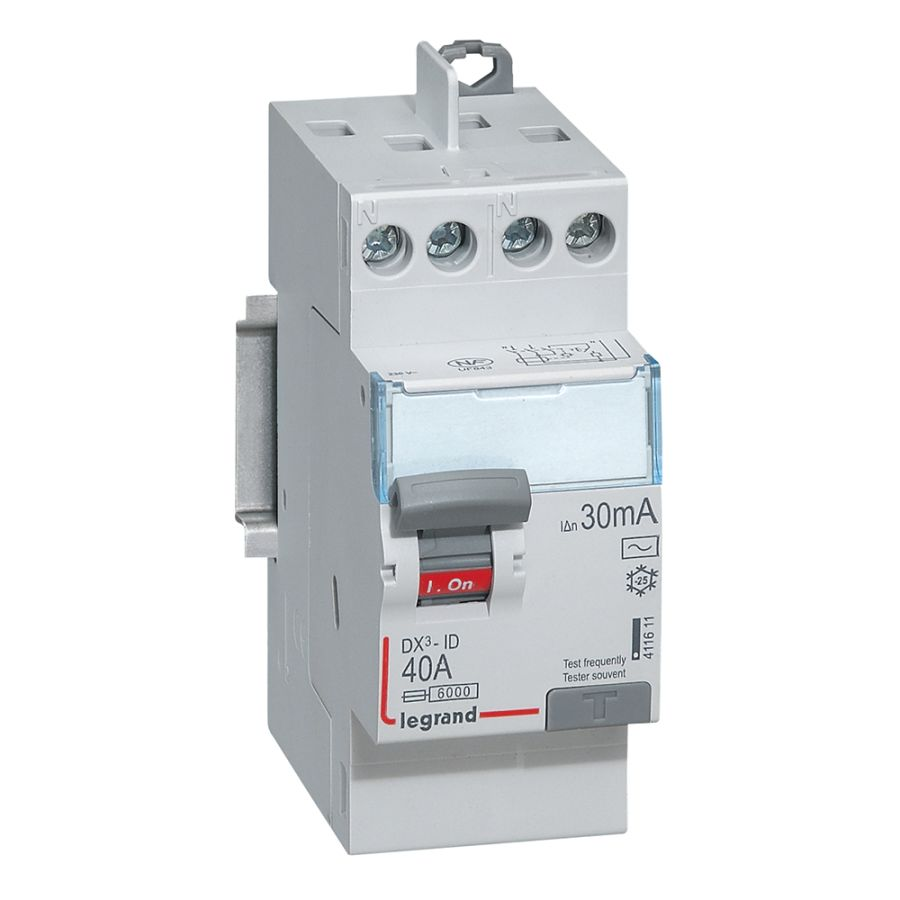 Interrupteur différentiel DX³-ID haut/haut vis - 2P 230V~ 40A typeAC 30mA