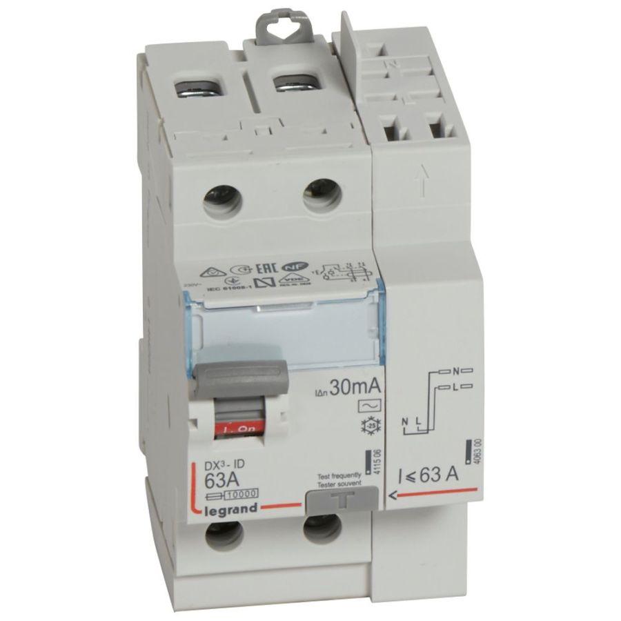 Interrupteur différentiel DX³-ID haut vis/haut auto 2P 230V~ 63A AC 30mA
