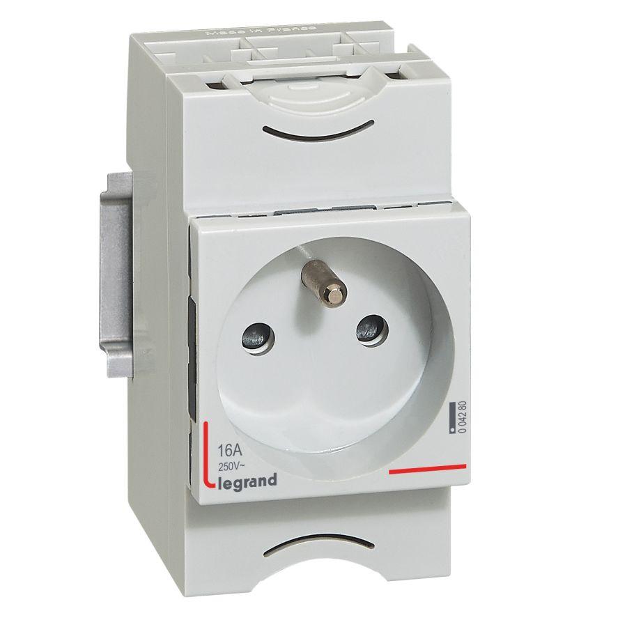 Prise de courant modulaire 10A à 16A 250V~ - 2P+T à éclips - Legrand- 004280