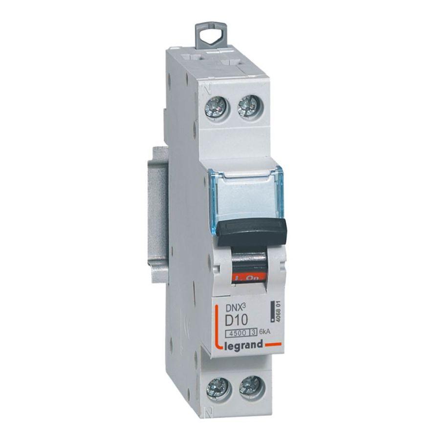 Disjoncteur DNX³ 4500 - vis/vis - U+N 230V~ 10A - 4,5kA - courbe D Legrand