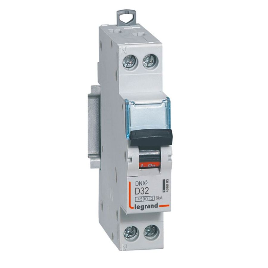 Disjoncteur DNX³ 4500 - vis/vis - U+N 230V~ 32A - 4,5 kA - courbe D - Legrand - 406805