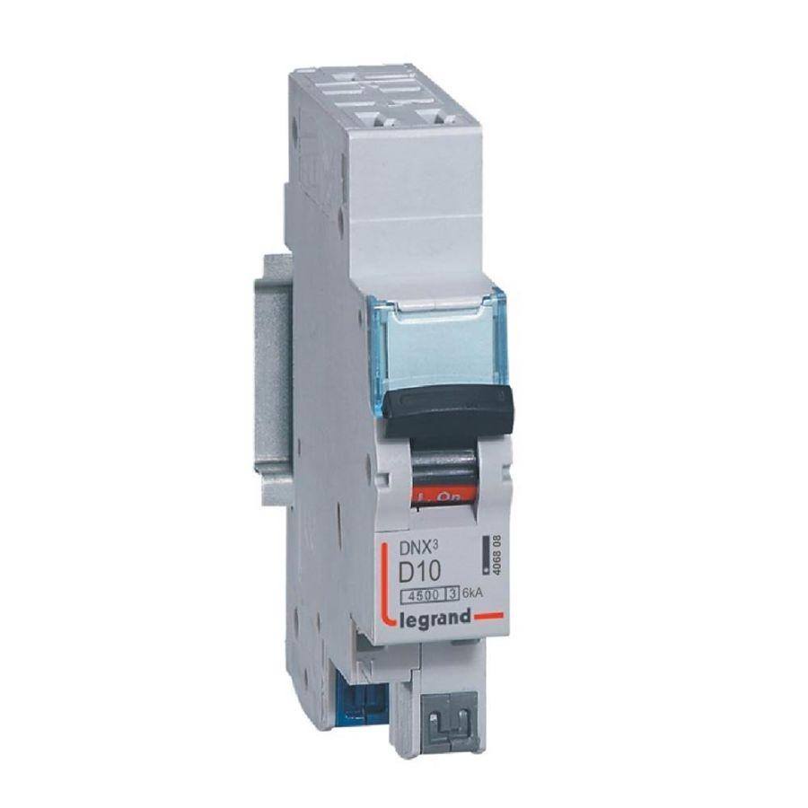 Disjoncteur DNX³ 4500 - auto/auto - U+N 230V~ 10A - 4,5kA - courbe D - Legrand - 406808