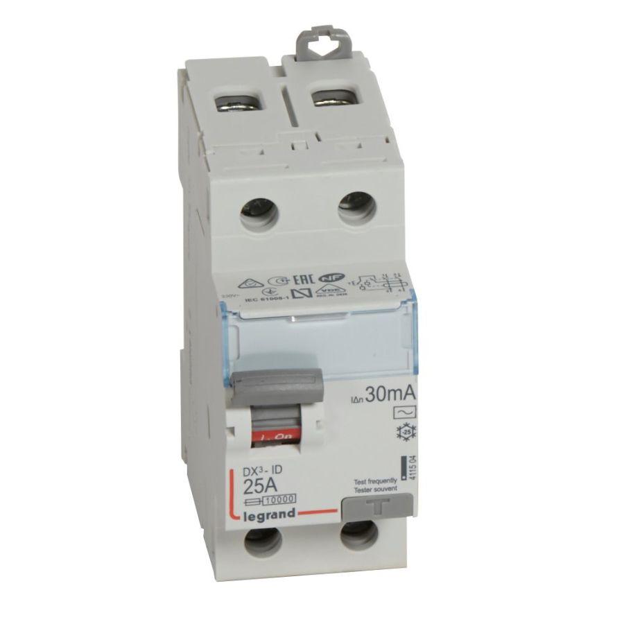 Interrupteur différentiel DX³-ID haut/bas vis - 2P 230V~ 25A typeAC 30mA legrand - 411504