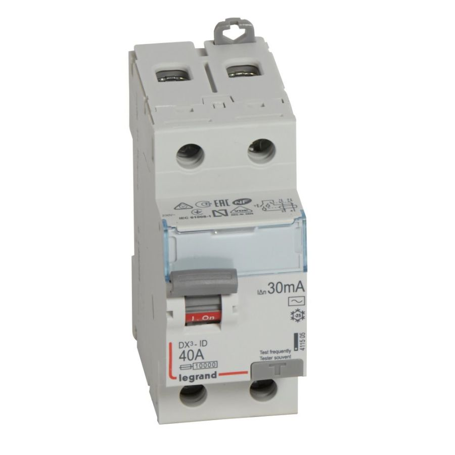 Interrupteur différentiel DX³-ID haut/bas vis - 2P 230V~ 40A typeAC 30mA Legrand