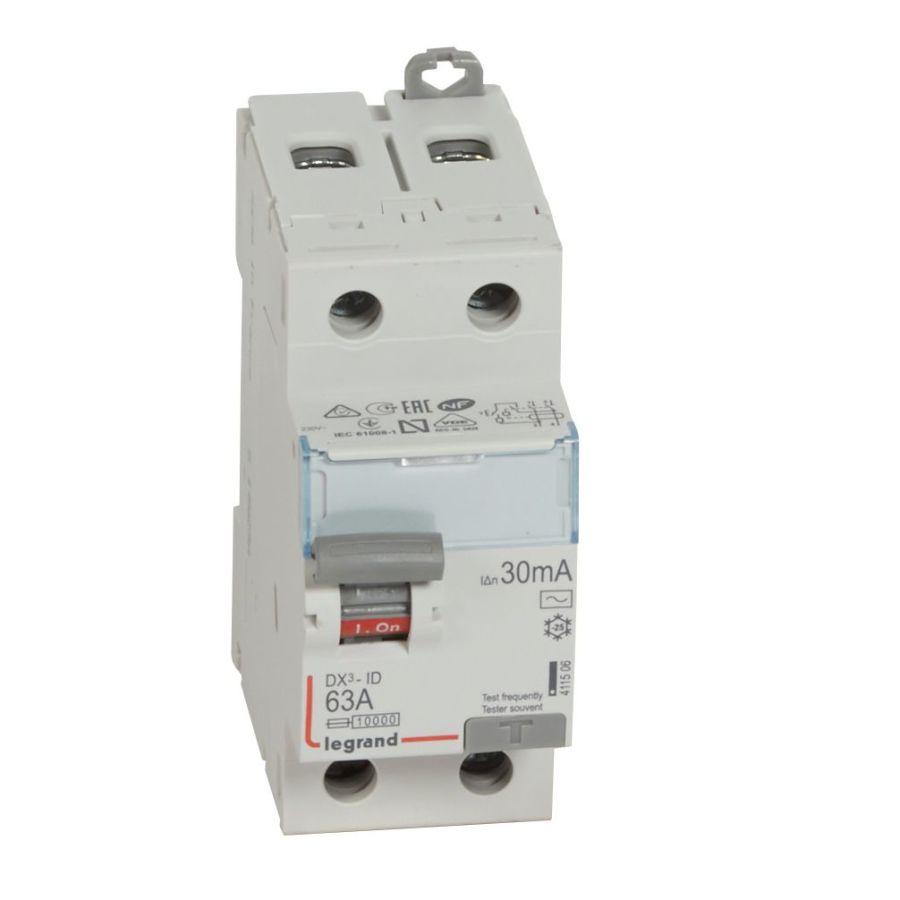 Interrupteur différentiel DX³-ID haut/bas vis - 2P 230V~ 63A typeAC 30mA Legrand -411506