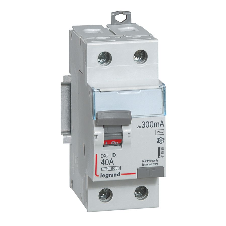 Interrupteur différentiel DX³-ID haut/bas vis - 2P 230V~ 40A typeAC 300mA legrand 411525