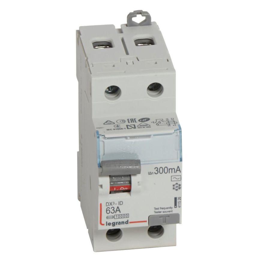 Interrupteur différentiel DX³-ID haut/bas vis - 2P 230V~ 63A typeAC 300mA Legrand 411526