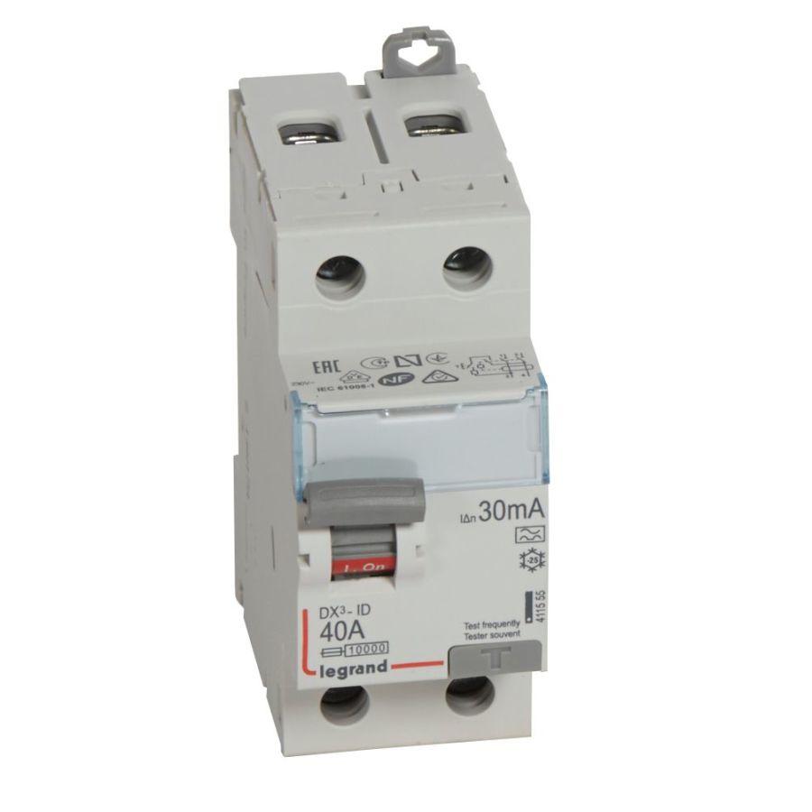 Interrupteur différentiel DX³-ID haut/bas vis - 2P 230V~ 40A typeA 30mA legrand 411555