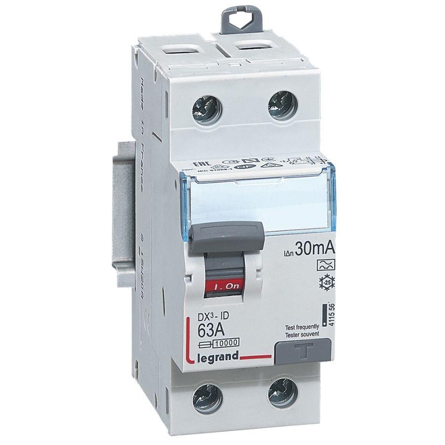 Interrupteur différentiel DX³-ID haut/bas vis - 2P 230V~ 63A typeA 30mA legrand 411556