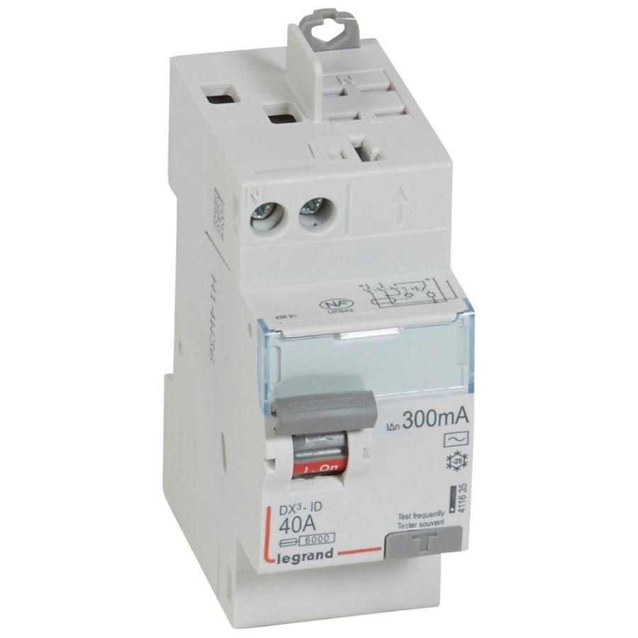 Interrupteur différentiel DX³-ID haut vis/haut auto 2P 230V~ 40A AC 300mA legrand 411635