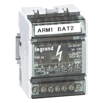 Répartiteur monobloc 4P à bornes 100A - 7 connexions par barreau - 4 modules DIN legrand 004884