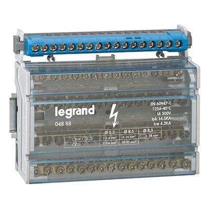 Répartiteur monobloc 4P à bornes 125A -15 connexions par barreau - 8 modules DIN legrand 004888