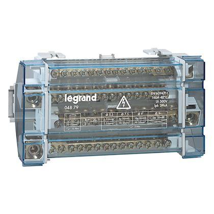 Répartiteur monobloc 4P à bornes 160A -15 connexions par barreau -10 modules DIN legrand 004879