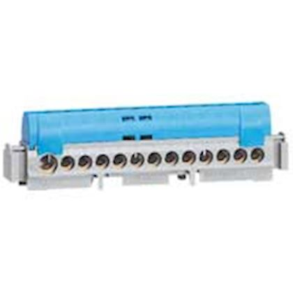 Bornier de répartition isolé IP2X neutre - 8x1,5mm² à 16mm² - bleu - long.75mm legrand 004842